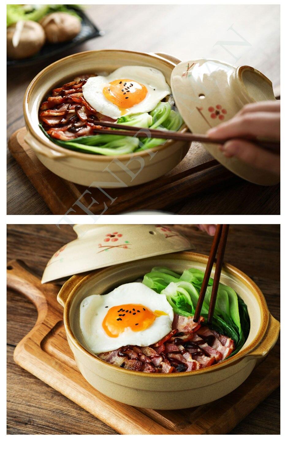 Soup Pot Crock Pot Casserole Ceramic Saucepan Soup Pot High Temperature Resistant Cooking Pan for Gas Stove cooker mx10121210