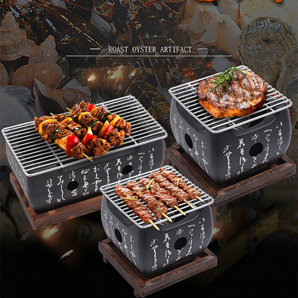 Portable Japanese BBQ Grill Charcoal Barbecue Grills Aluminium Alloy Indoor Outdoor BBQ Grill Pan Barbecue Stove