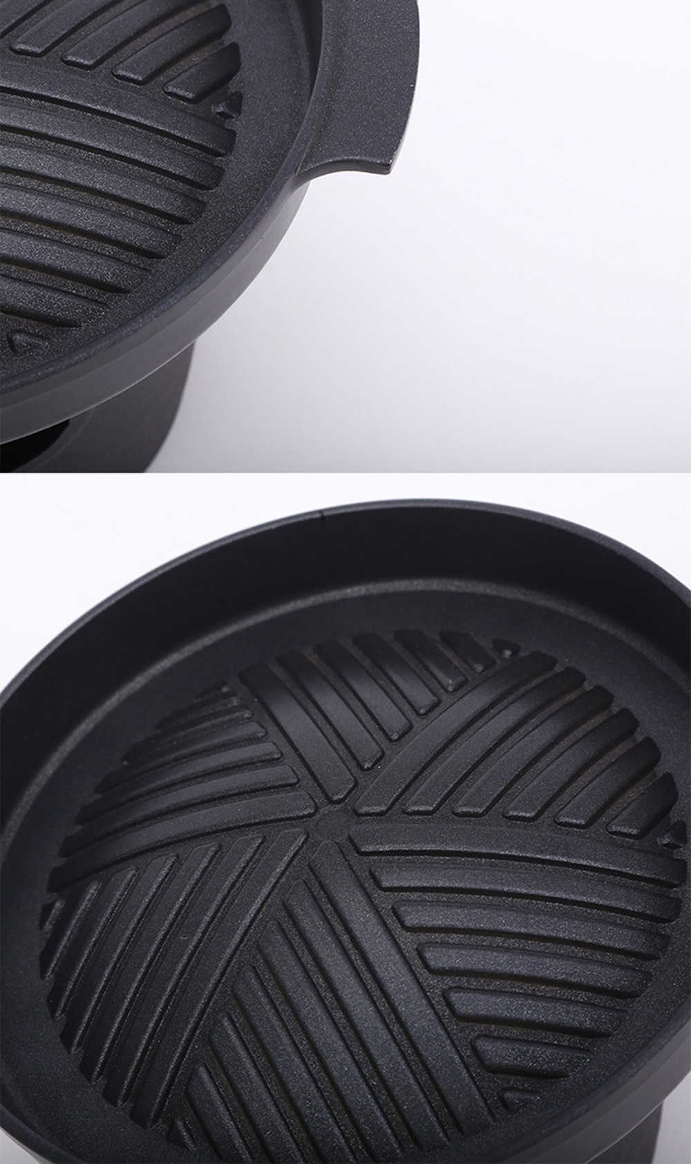 Non-Stick Korean BBQ Grills Round Pan Barbecue Grill for Outdoor Portable DIY BBQ Accessories Alcohol Grill Household BBQ Tools