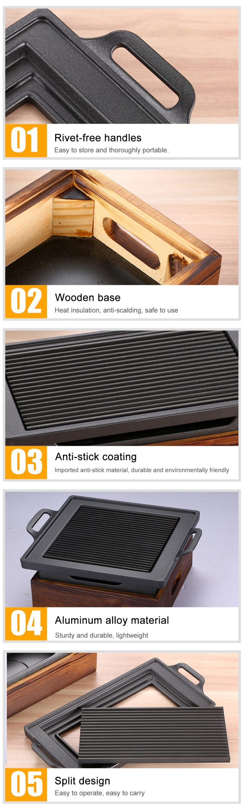 Portable BBQ Grill Korean Japanese Barbecue Grill Charcoal BBQ Oven Household Non-stick Cooking Tools