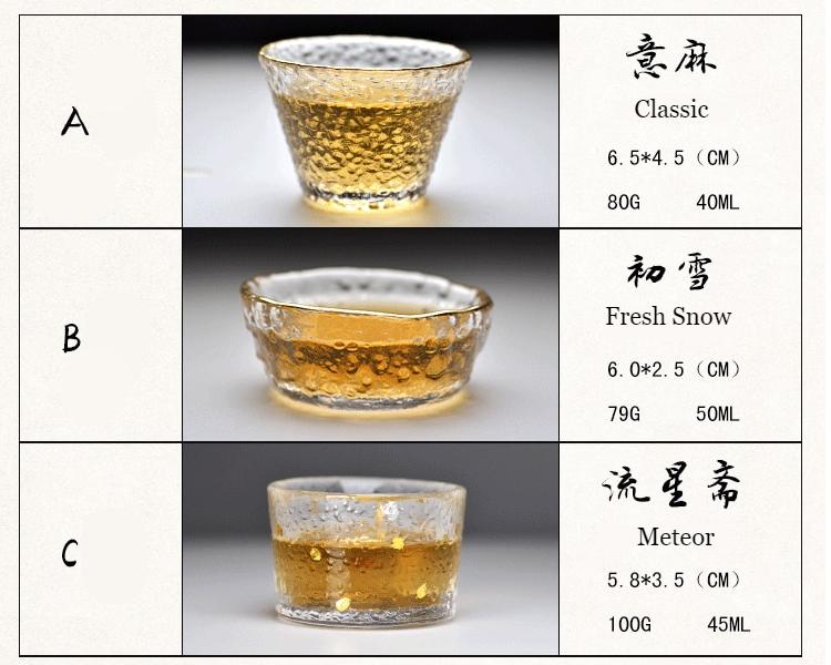 Gold Glass Tea Cup with Glod Rim Japanese style Kung Fu Accessories Green Puer Teacups Chinese Tea Bowl Teaware Set