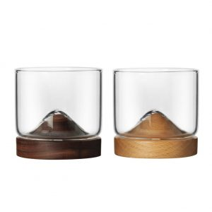 Japanese Style Mountain Wooden Bottom Glass – 2 Colors Available